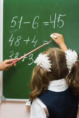 The schoolgirl at a school board