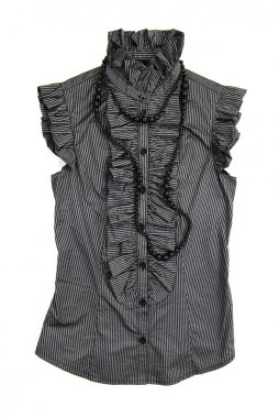 Vintage gray blouse with black necklace