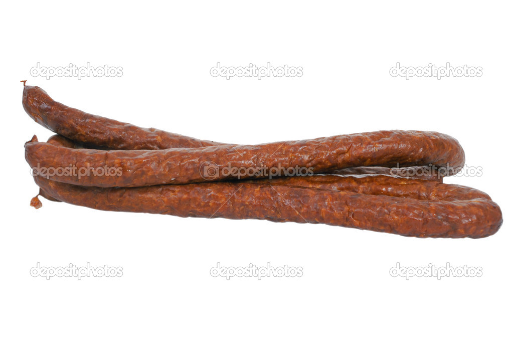 Thin Dry Smoked Pork Sausage Isolated On White Photo By Pixelman