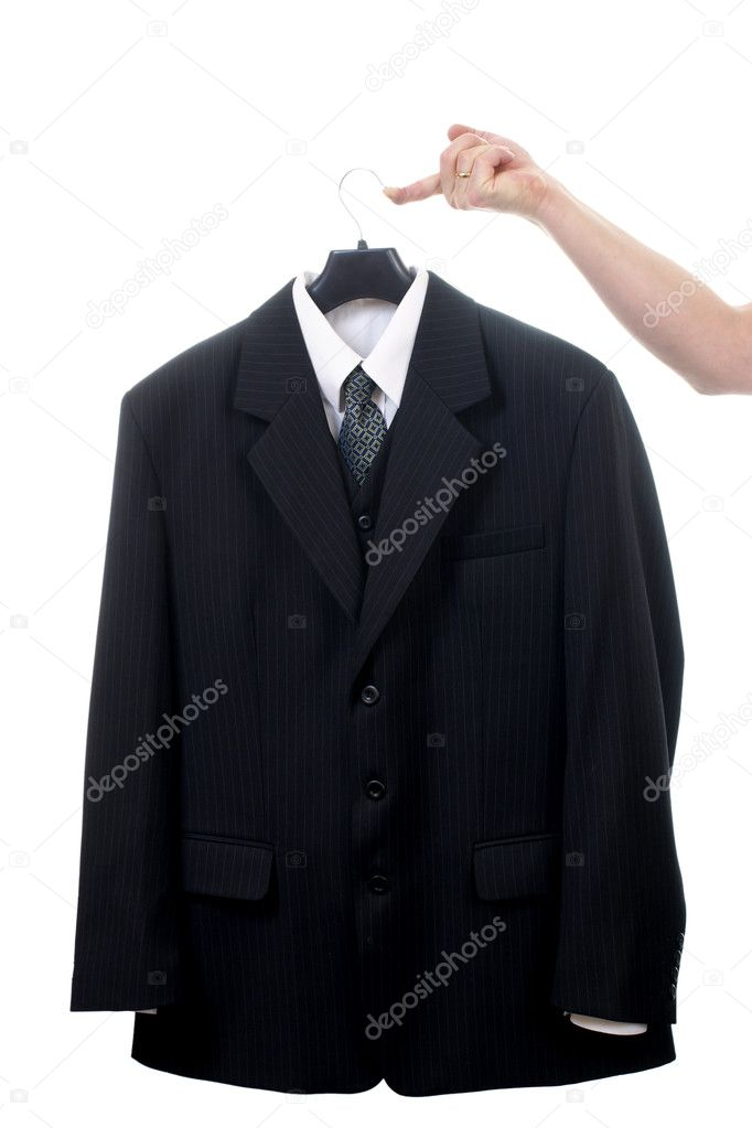 Suit on hanger