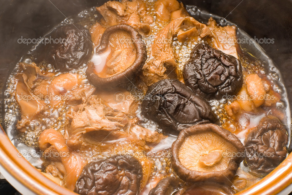 Stew mushrooms with chicken