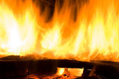 Plameny požáru v ohništi