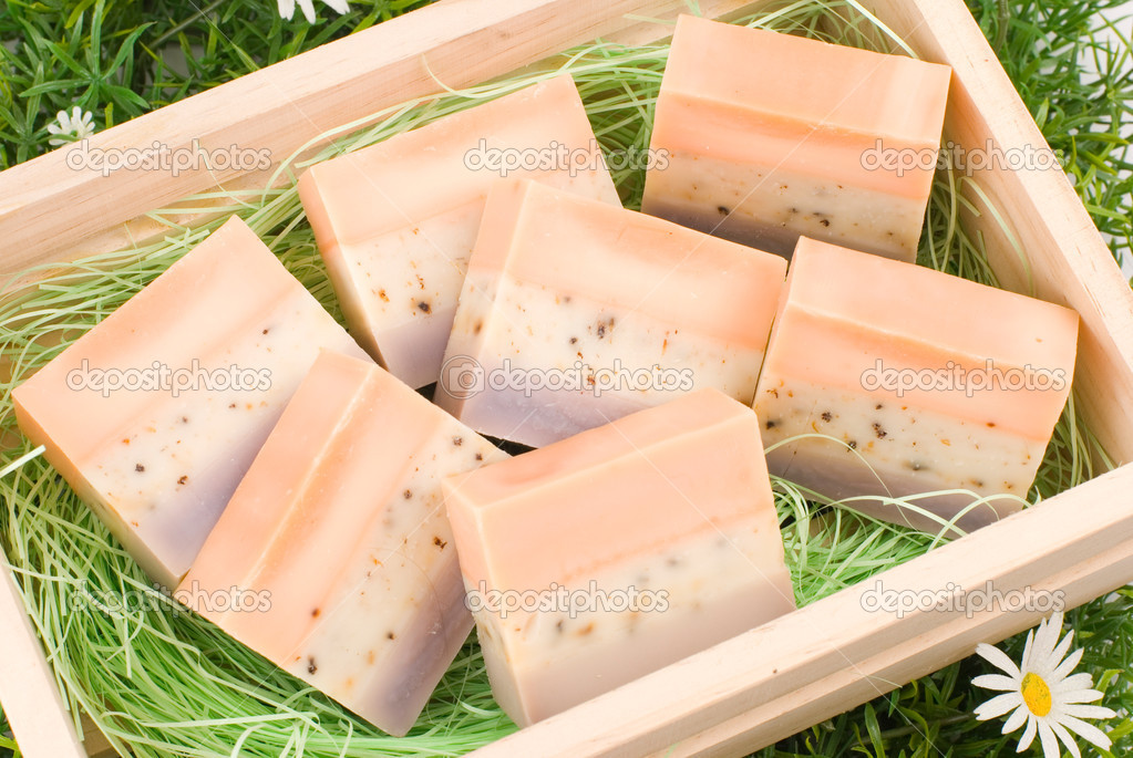 Handmade soap in wooden box as gift