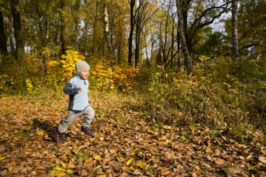 Boy running in autumn scenery