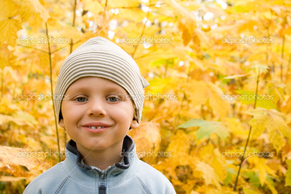 Happy boy smiling in autumnal scenery
