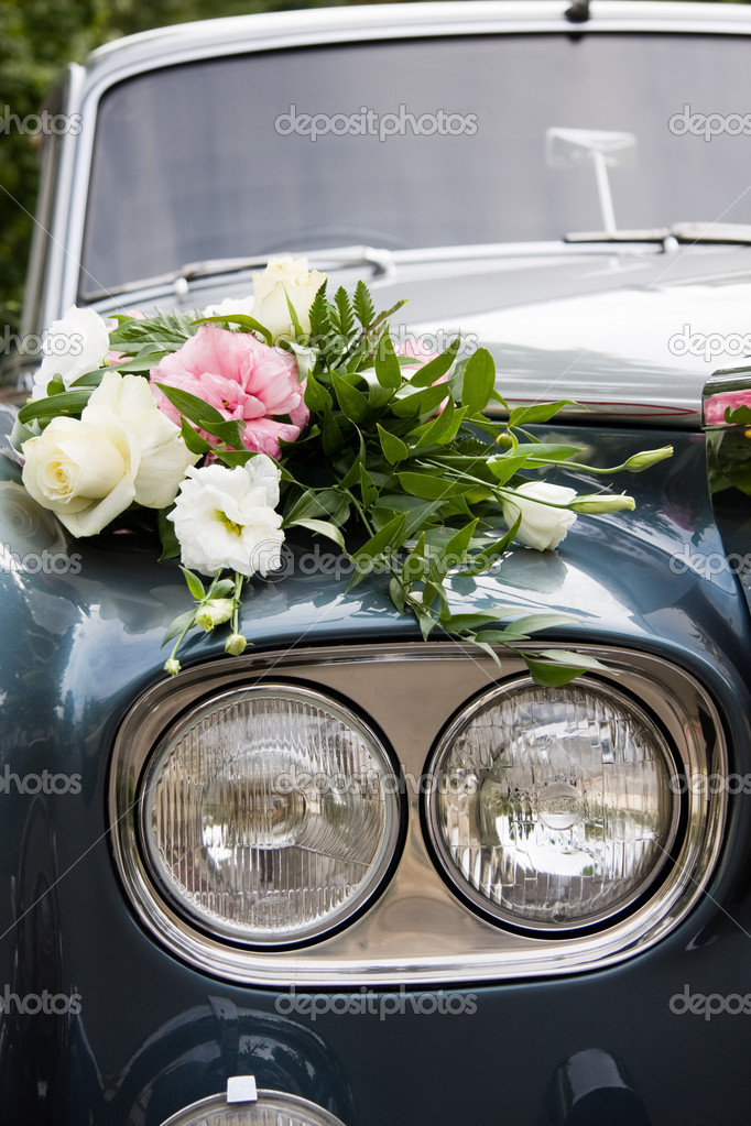 Wedding car and flowers
