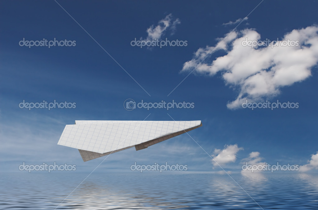 Paper plane above water