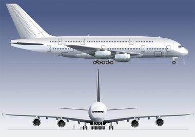 Detailed vector illustration passenger jet A-380. stock vector
