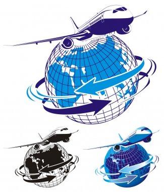 Vector passenger airliner as a logo