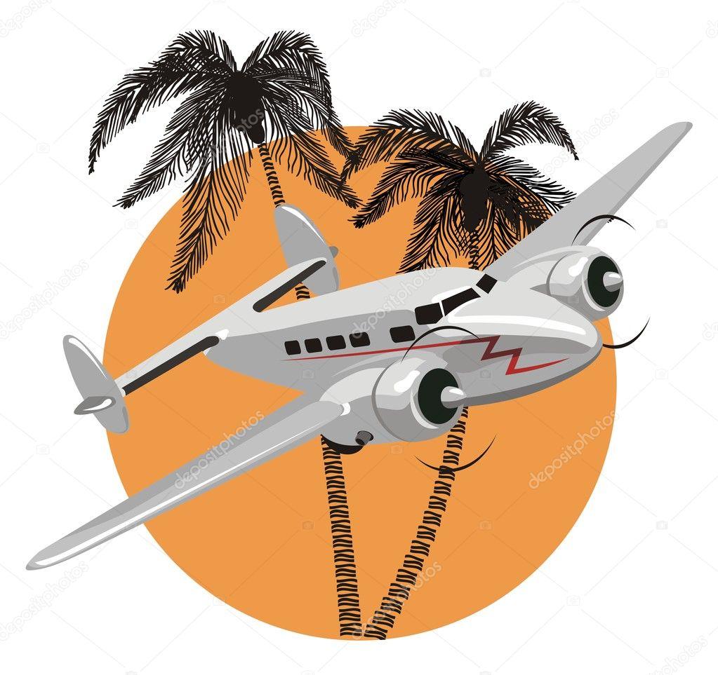 cartoon retro airplane u2014 stock vector mechanik 1719817
