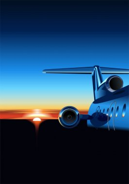 Vector illustration passenger aircraft at sunrise. vector format separated by groups and layers for easy edit stock vector