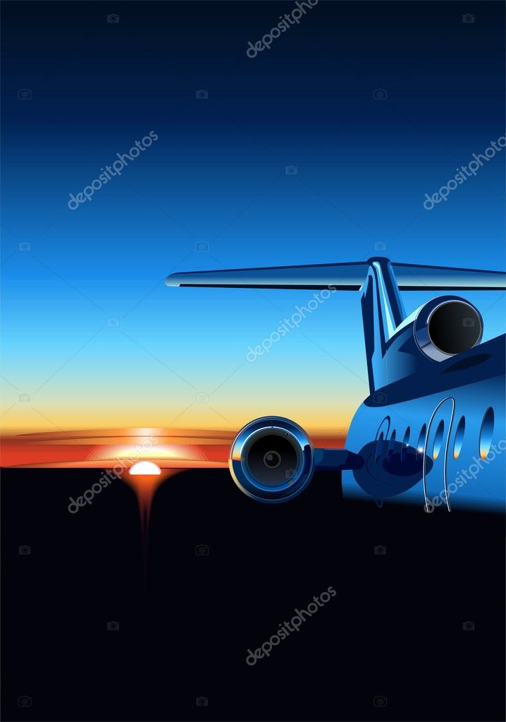 Vector aircraft at sunrise