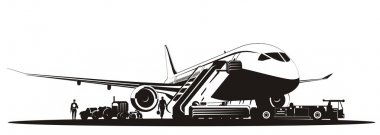 Vector airliner at runway. Available EPS-8 vector format separated by groups and layers for easy edit. stock vector