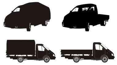 Vector truck silhouette set