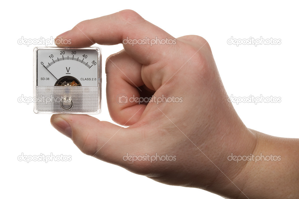 Hand with voltmeter 1