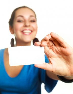Businesswoman with a business card