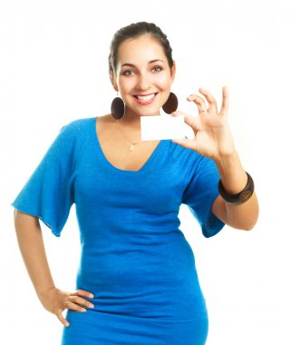 Woman showing a business card