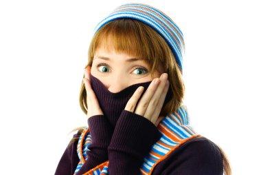 Beautiful girl feels cold