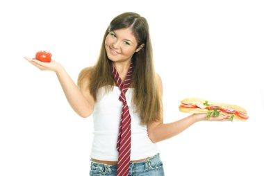 Girl choosing what to eat