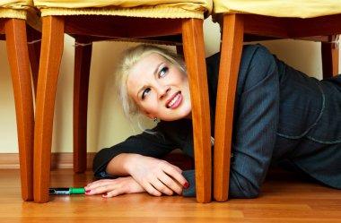 Scared businesswoman