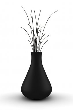 Black vase with dry wood isolated