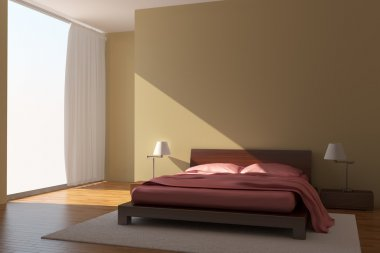 Modern bedroom with yellow walls