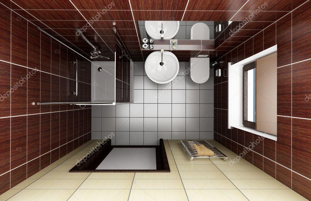 Moderno bagno con piastrelle marroni u foto stock tiler