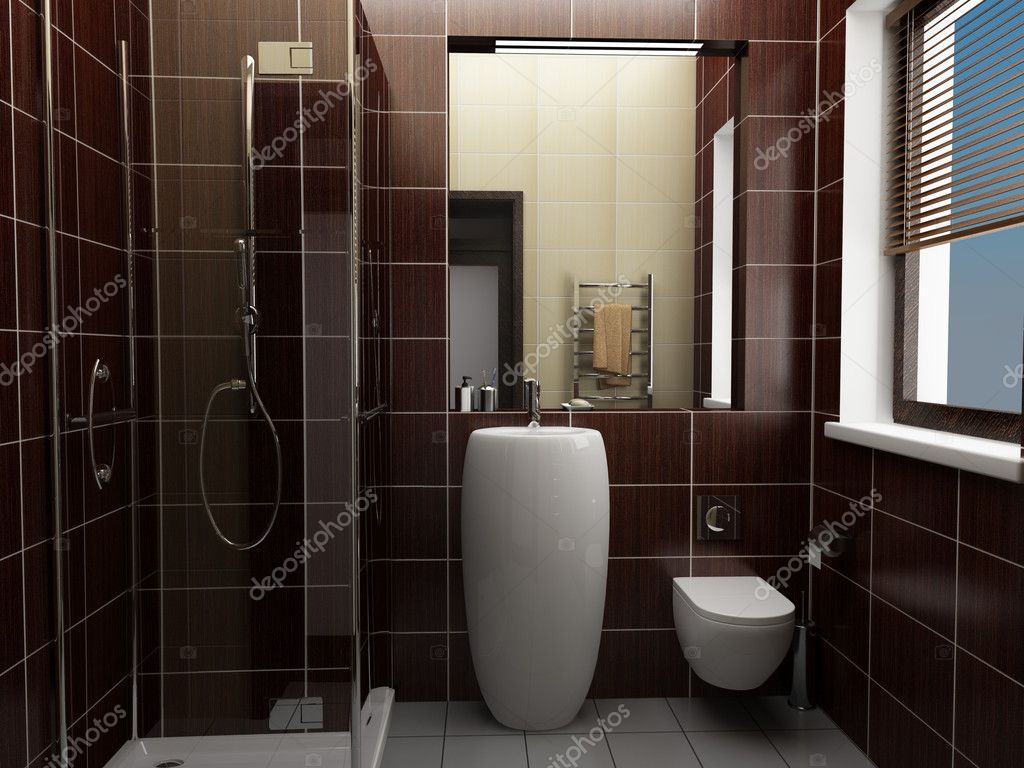 Modern koupelna s hn d dla dice stock fotografie for Progettare un bagno in 3d gratis