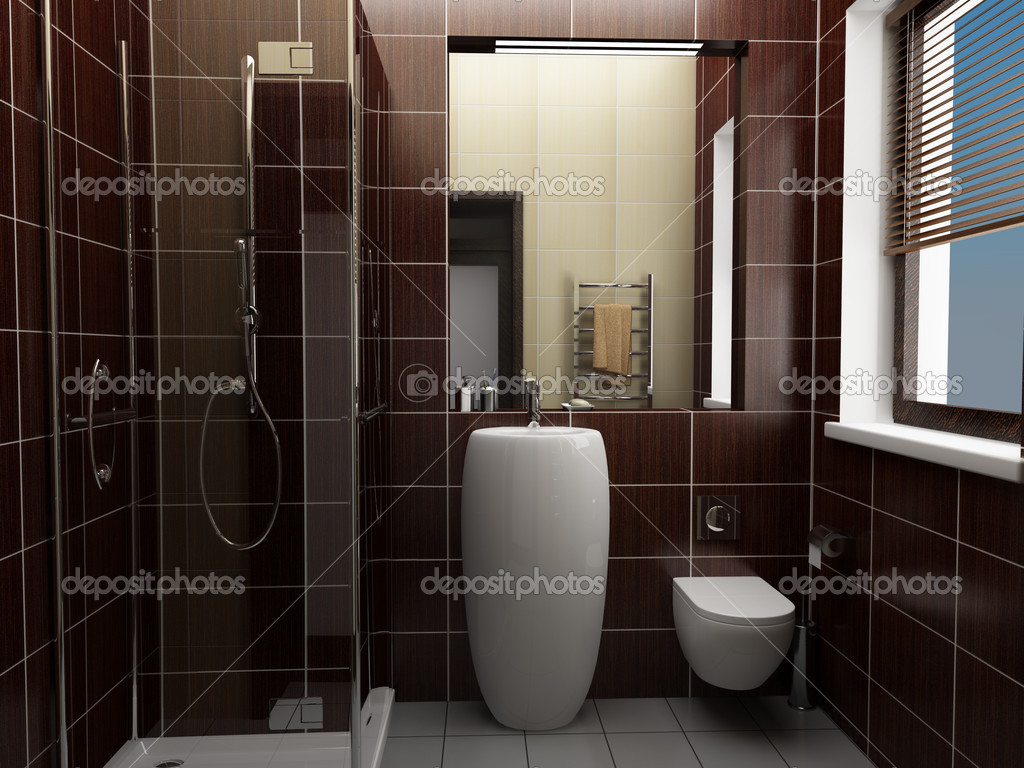 Badkamer Tegels Bruin : Moderne badkamer met bruin tegels u stockfoto tiler