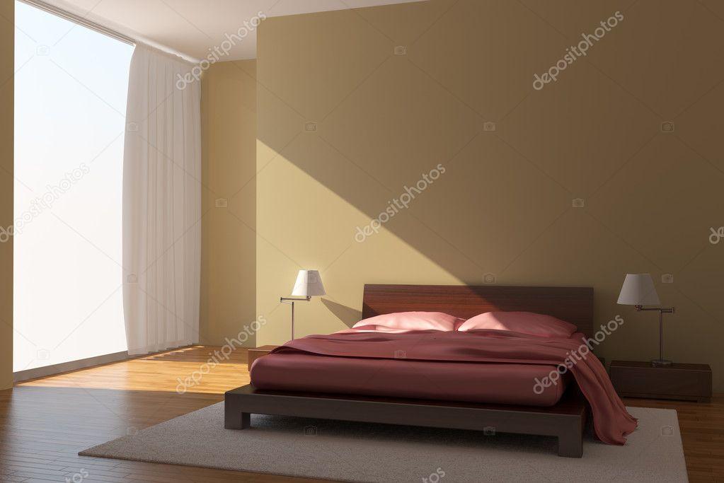 Gele Muur Slaapkamer : Moderne slaapkamer met gele muren u stockfoto tiler