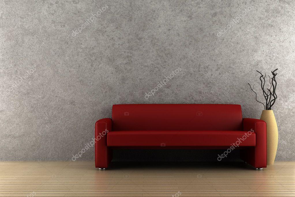 Divano Rosso E Grigio : Open space con divano angolare rosso pareti bianche tappeto