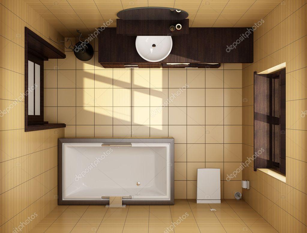 japanischen stil badezimmer mit braunen fliesen — Stockfoto ...