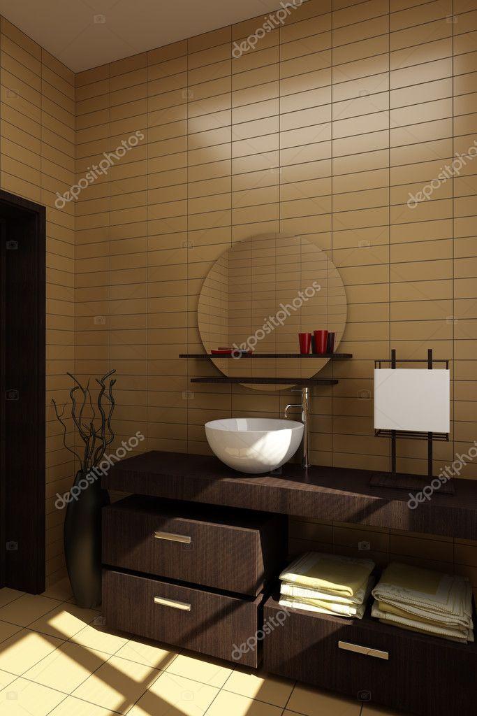 japán stílusú fürdőszoba világosbarna csempe — Stock Fotó ...
