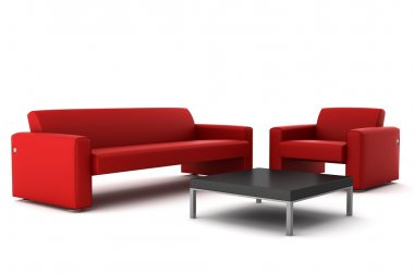 Red sofa and armchair with table