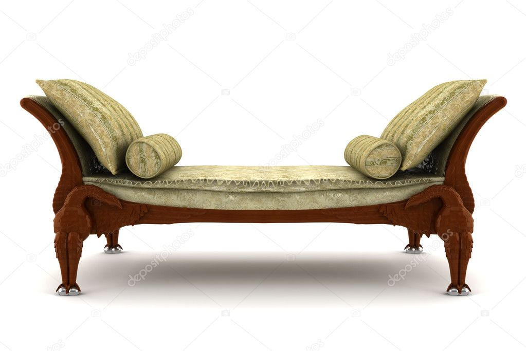 Beige classic sofa isolated on white