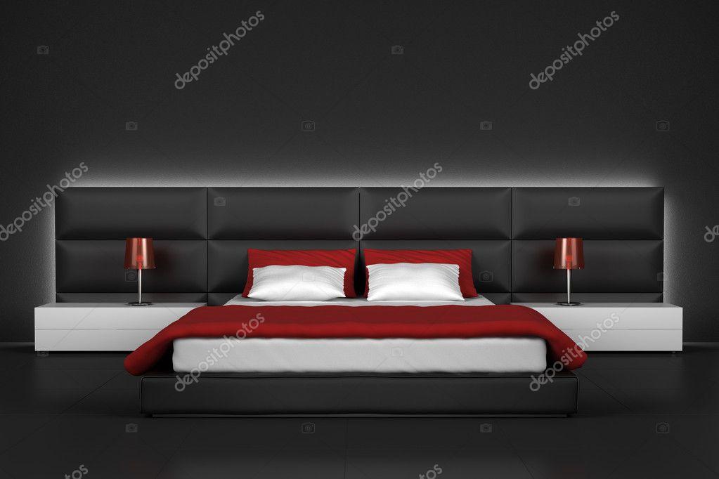Moderna camera da letto con pavimento e parete nera — Foto ...