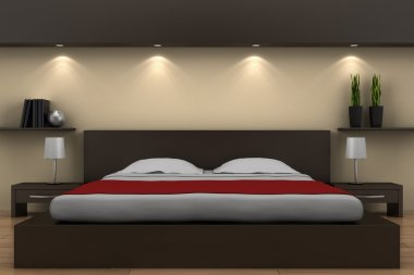 Modern bedroom with brown bed