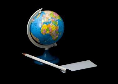 Globe and pencil