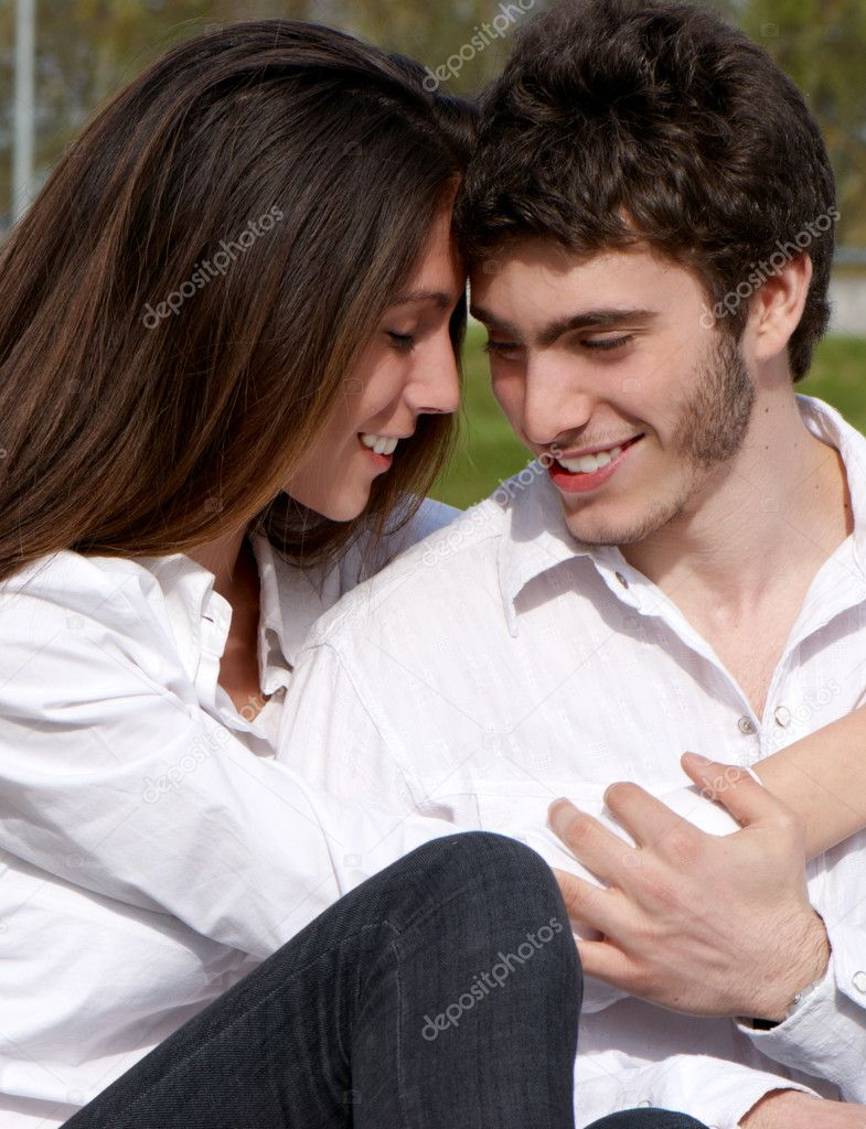Close-up of a young couple in love