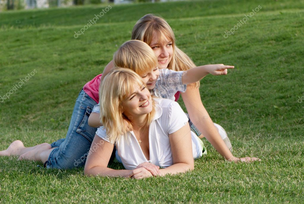 Mother with her children playing