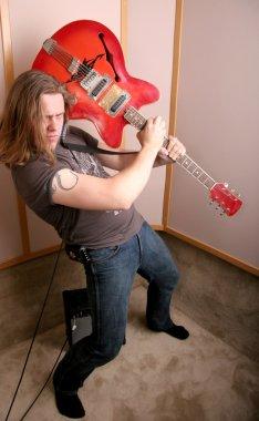 Guitarist in studio