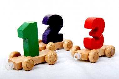 Wooden numbers one two three
