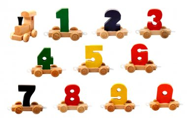 Isolated wooden numbers