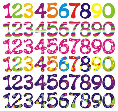 Number set with abstract patterns.