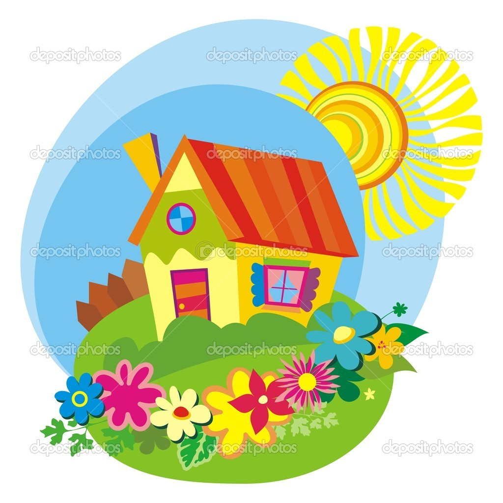 Rural background with cute little house