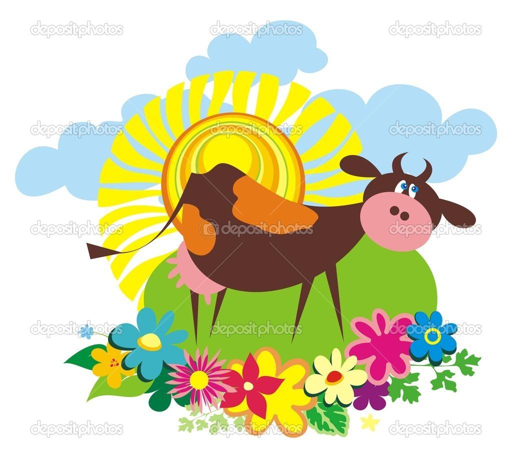 Sfondo rurale con mucca simpatico cartone animato