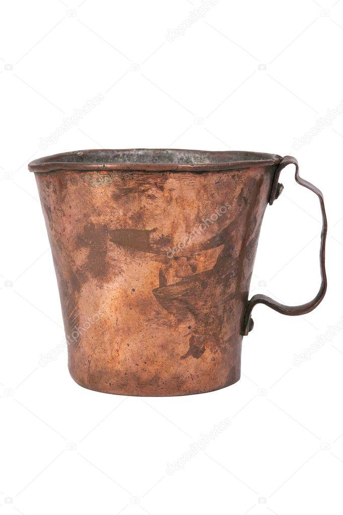 Old copper mug, isolated on white