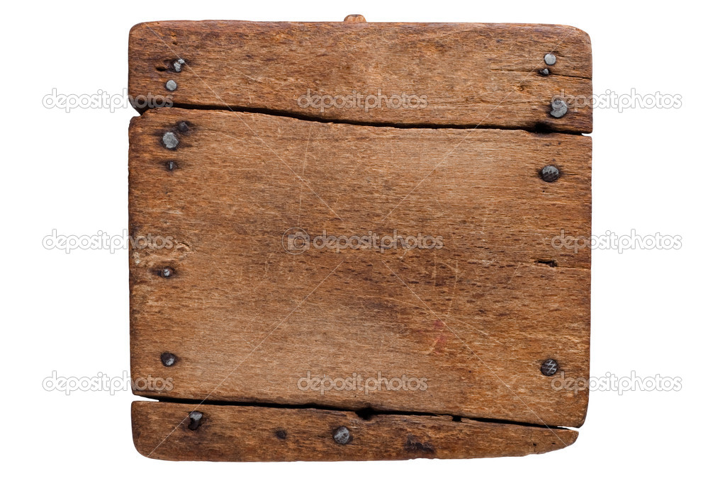 Old wooden board with nails. Ready for your message