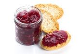 Photo Breakfast of cherry jam on toast