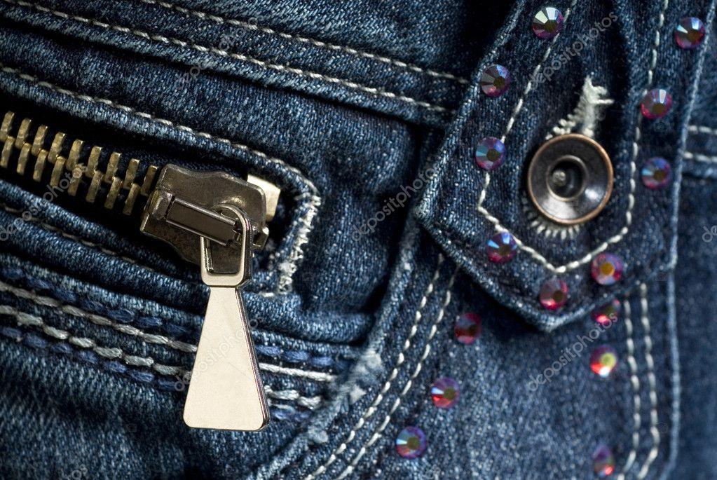 Blue Denim Jeans with zipper